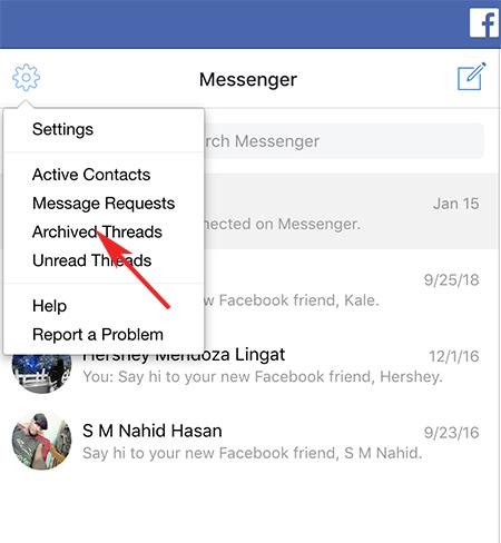 facebook archive messenger